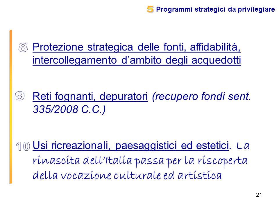 21 Protezione strategica delle fonti, affidabilità, intercollegamento dambito degli acquedotti Reti fognanti, depuratori (recupero fondi sent. 335/200