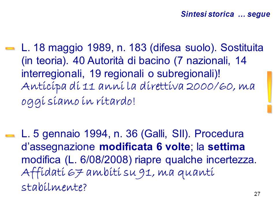 27 L. 18 maggio 1989, n. 183 (difesa suolo). Sostituita (in teoria). 40 Autorità di bacino (7 nazionali, 14 interregionali, 19 regionali o subregional