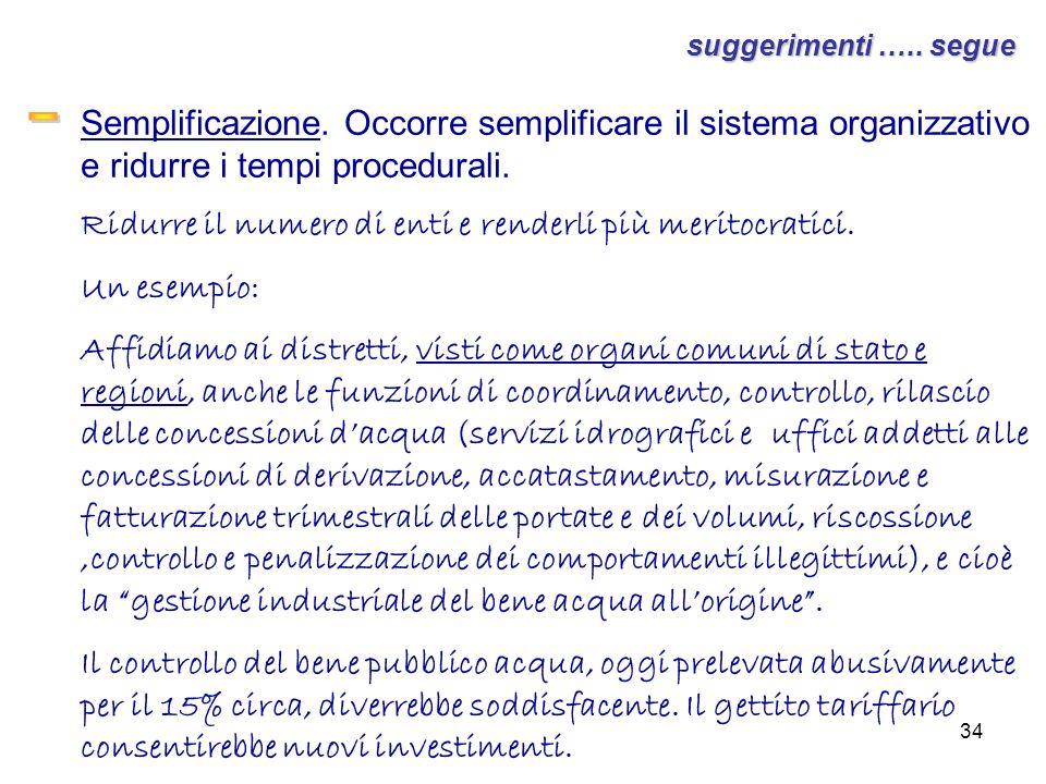 34 suggerimenti ….. segue Semplificazione. Occorre semplificare il sistema organizzativo e ridurre i tempi procedurali. Ridurre il numero di enti e re