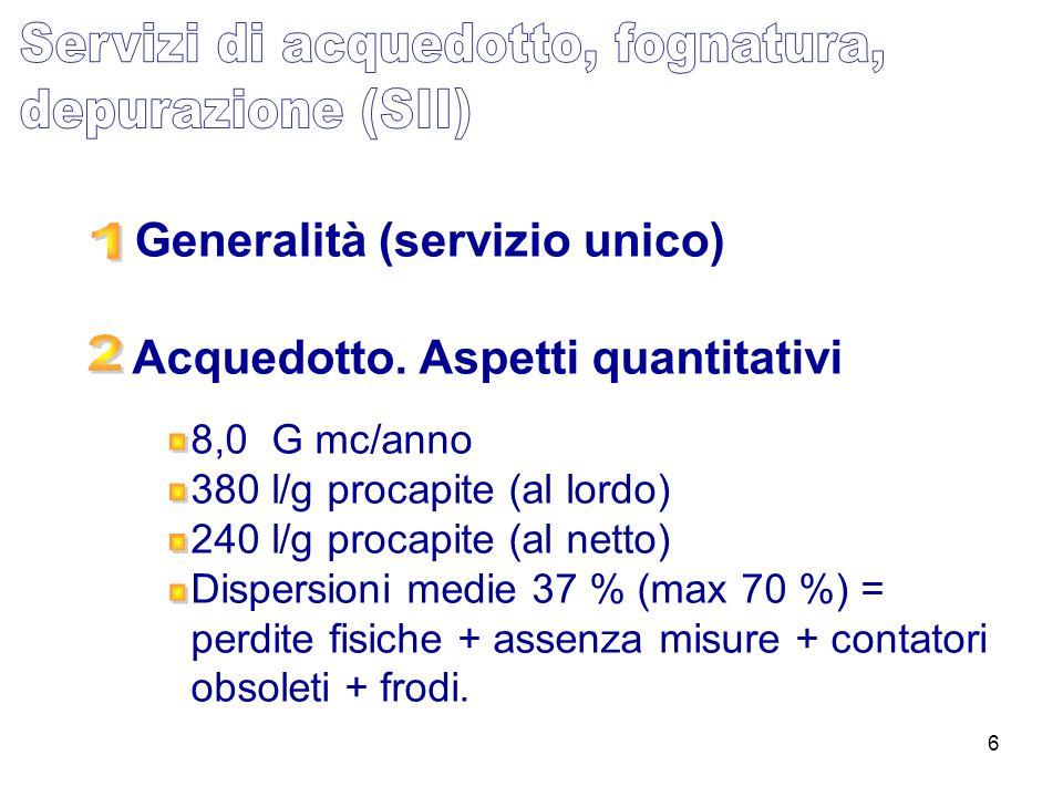 6 Acquedotto. Aspetti quantitativi Generalità (servizio unico) 8,0 G mc/anno 380 l/g procapite (al lordo) 240 l/g procapite (al netto) Dispersioni med