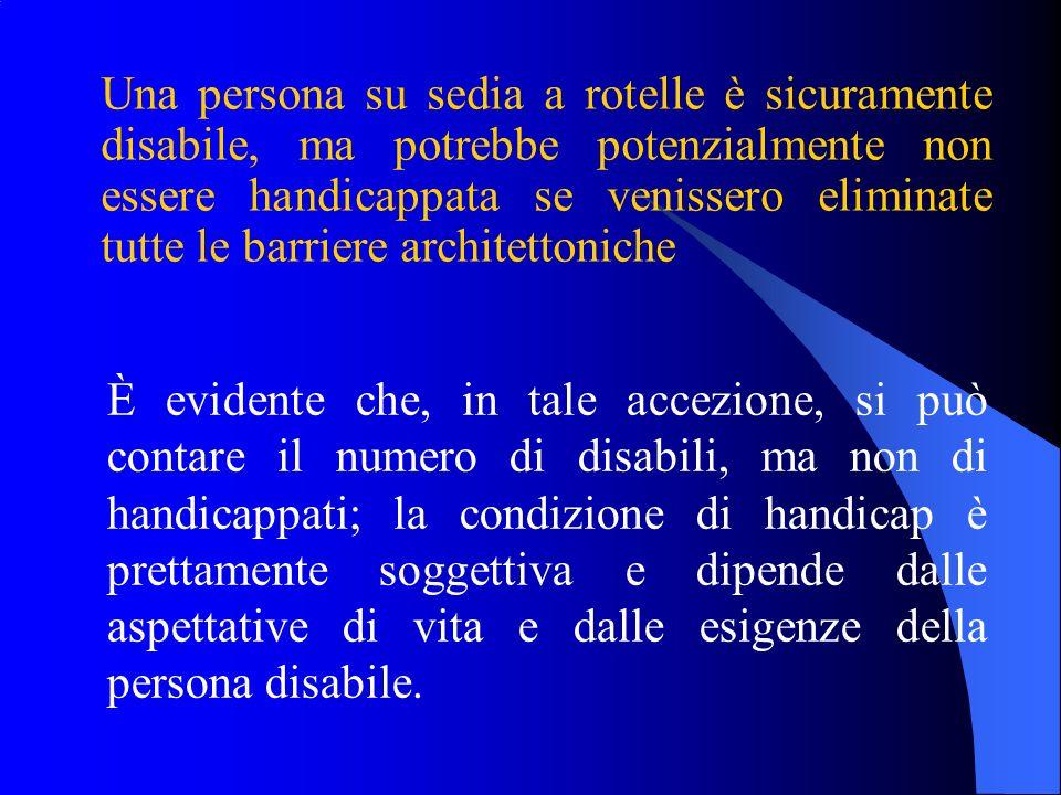 Una persona su sedia a rotelle è sicuramente disabile, ma potrebbe potenzialmente non essere handicappata se venissero eliminate tutte le barriere arc