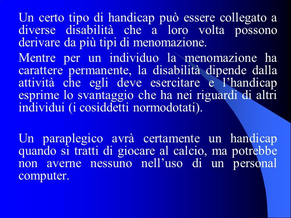 Un certo tipo di handicap può essere collegato a diverse disabilità che a loro volta possono derivare da più tipi di menomazione. Mentre per un indivi