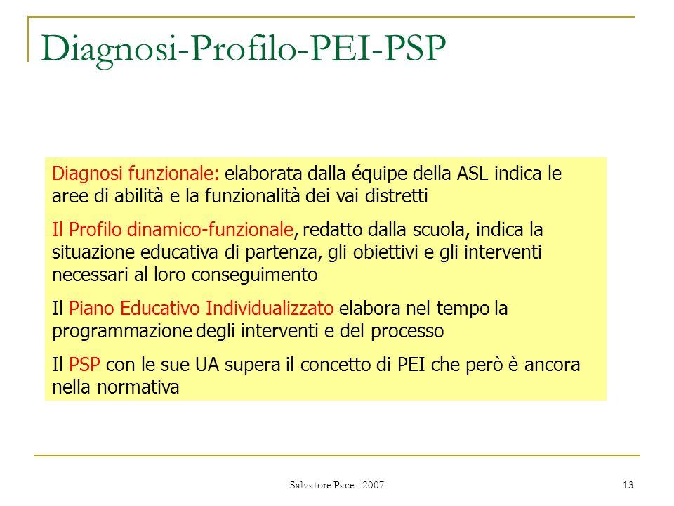 Salvatore Pace - 2007 13 Diagnosi-Profilo-PEI-PSP Diagnosi funzionale: elaborata dalla équipe della ASL indica le aree di abilità e la funzionalità de