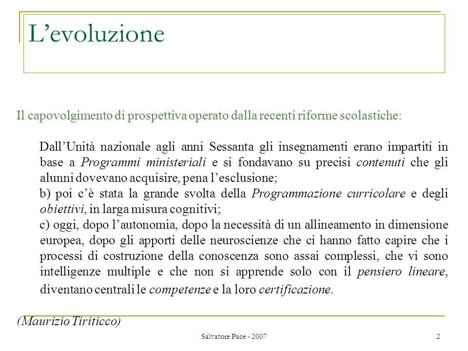 Salvatore Pace - 2007 2 Levoluzione Il capovolgimento di prospettiva operato dalla recenti riforme scolastiche: DallUnità nazionale agli anni Sessanta
