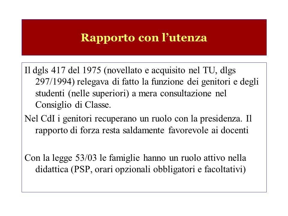 Rapporto con lutenza Il dgls 417 del 1975 (novellato e acquisito nel TU, dlgs 297/1994) relegava di fatto la funzione dei genitori e degli studenti (nelle superiori) a mera consultazione nel Consiglio di Classe.