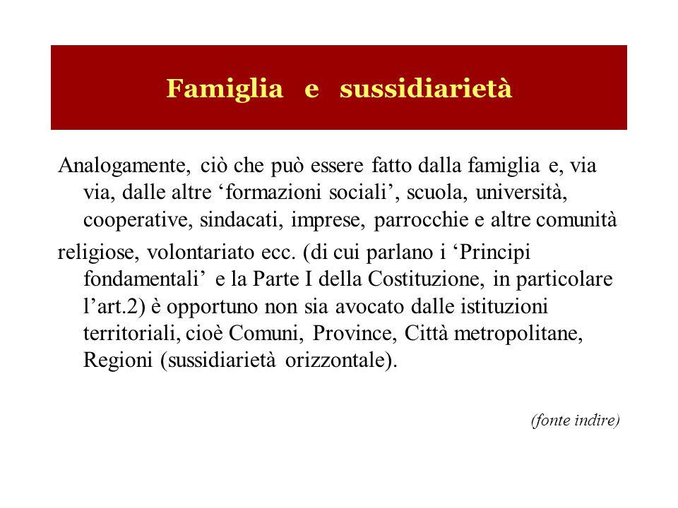 Famiglia e sussidiarietà Analogamente, ciò che può essere fatto dalla famiglia e, via via, dalle altre formazioni sociali, scuola, università, coopera