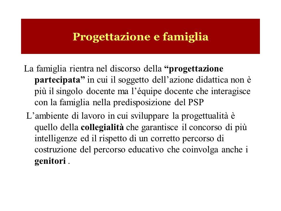 Progettazione e famiglia La famiglia rientra nel discorso della progettazione partecipata in cui il soggetto dellazione didattica non è più il singolo