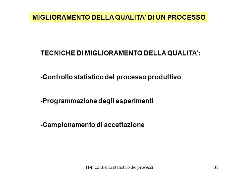 H-Il controllo statistico dei processi37 MIGLIORAMENTO DELLA QUALITA' DI UN PROCESSO TECNICHE DI MIGLIORAMENTO DELLA QUALITA': -Controllo statistico d