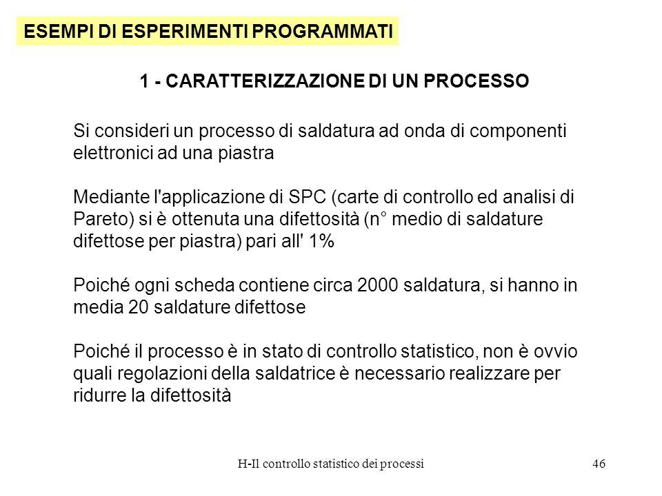 H-Il controllo statistico dei processi46 ESEMPI DI ESPERIMENTI PROGRAMMATI 1 - CARATTERIZZAZIONE DI UN PROCESSO Si consideri un processo di saldatura