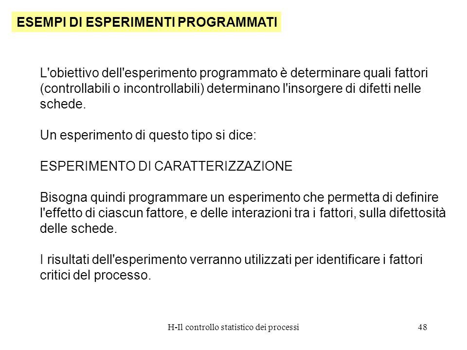 H-Il controllo statistico dei processi48 ESEMPI DI ESPERIMENTI PROGRAMMATI L'obiettivo dell'esperimento programmato è determinare quali fattori (contr