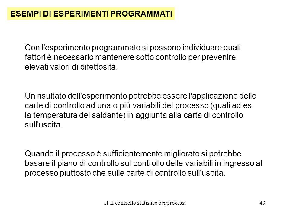 H-Il controllo statistico dei processi49 ESEMPI DI ESPERIMENTI PROGRAMMATI Con l'esperimento programmato si possono individuare quali fattori è necess