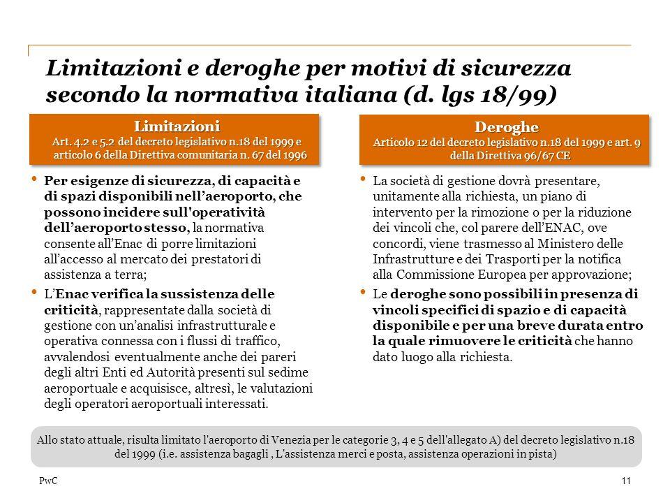 PwC Limitazioni e deroghe per motivi di sicurezza secondo la normativa italiana (d. lgs 18/99) 11 Limitazioni Art. 4.2 e 5.2 del decreto legislativo n