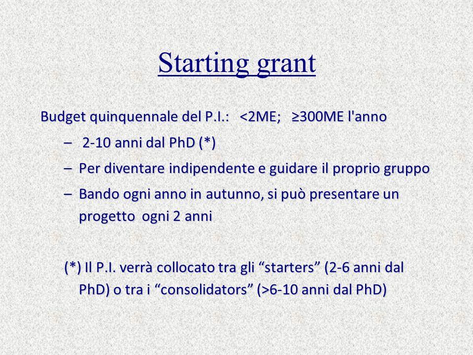 Starting grant Budget quinquennale del P.I.: <2ME; 300ME l anno – 2-10 anni dal PhD (*) –Per diventare indipendente e guidare il proprio gruppo –Bando ogni anno in autunno, si può presentare un progetto ogni 2 anni (*) Il P.I.