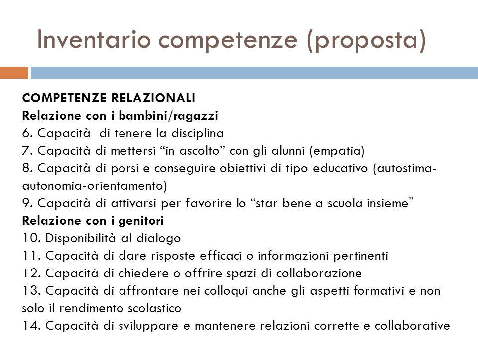 Inventario competenze (proposta) COMPETENZE RELAZIONALI Relazione con i bambini/ragazzi 6.