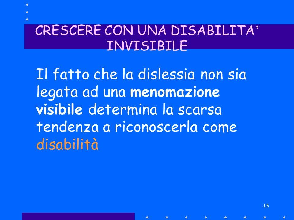 15 CRESCERE CON UNA DISABILITA INVISIBILE Il fatto che la dislessia non sia legata ad una menomazione visibile determina la scarsa tendenza a riconosc