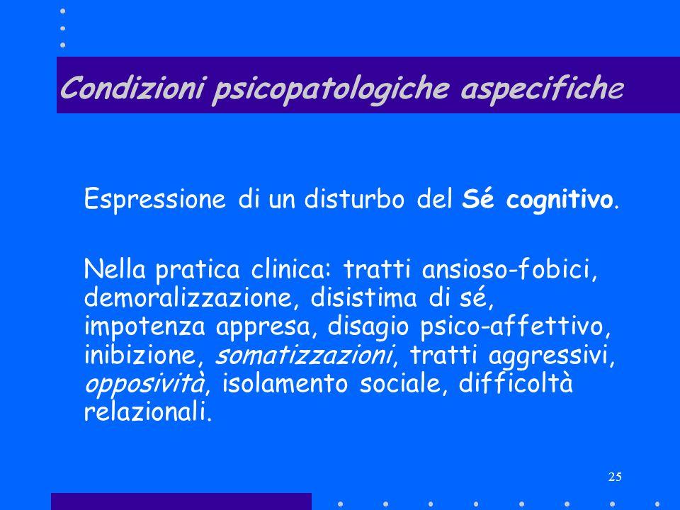 25 Condizioni psicopatologiche aspecifiche Espressione di un disturbo del Sé cognitivo. Nella pratica clinica: tratti ansioso-fobici, demoralizzazione