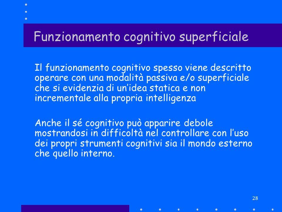 28 Funzionamento cognitivo superficiale Il funzionamento cognitivo spesso viene descritto operare con una modalità passiva e/o superficiale che si evi