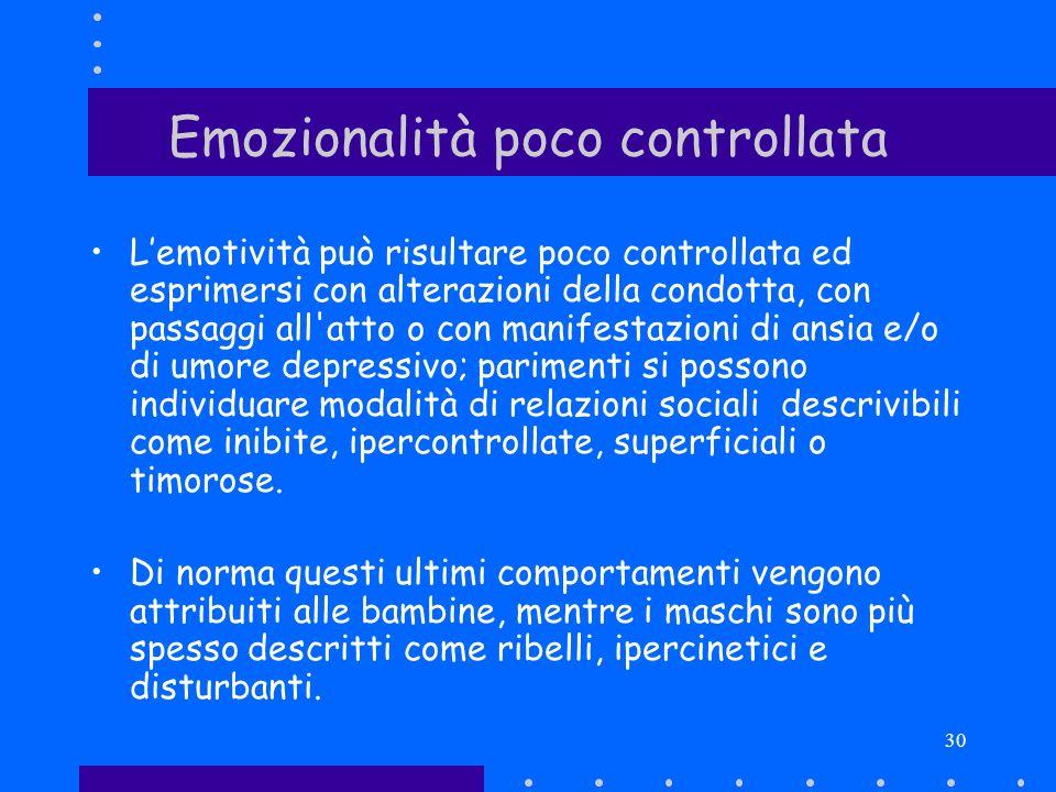 30 Emozionalità poco controllata Lemotività può risultare poco controllata ed esprimersi con alterazioni della condotta, con passaggi all'atto o con m