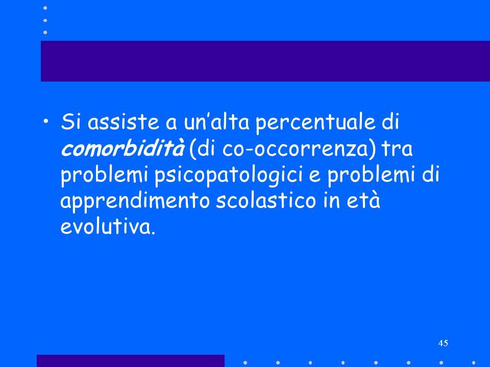45 Si assiste a unalta percentuale di comorbidità (di co-occorrenza) tra problemi psicopatologici e problemi di apprendimento scolastico in età evolut