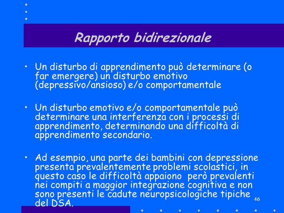 46 Rapporto bidirezionale Un disturbo di apprendimento può determinare (o far emergere) un disturbo emotivo (depressivo/ansioso) e/o comportamentale U