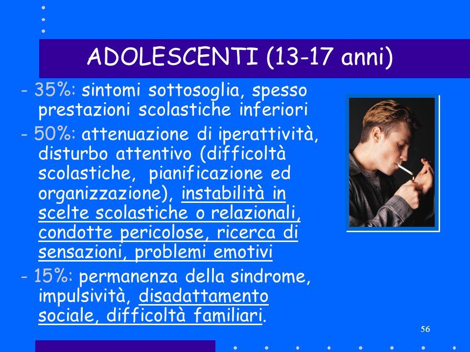 56 - 35%: sintomi sottosoglia, spesso prestazioni scolastiche inferiori - 50%: attenuazione di iperattività, disturbo attentivo (difficoltà scolastich