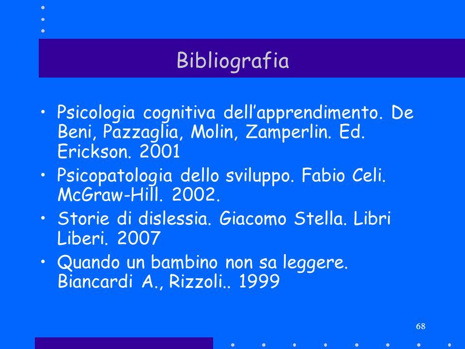 68 Bibliografia Psicologia cognitiva dellapprendimento. De Beni, Pazzaglia, Molin, Zamperlin. Ed. Erickson. 2001 Psicopatologia dello sviluppo. Fabio