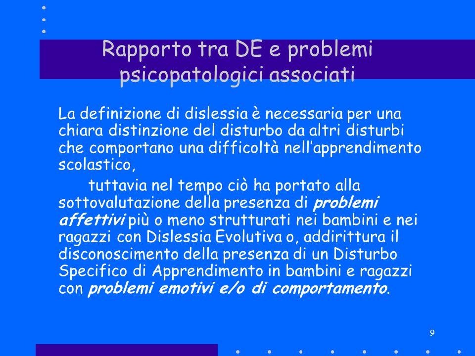 9 Rapporto tra DE e problemi psicopatologici associati La definizione di dislessia è necessaria per una chiara distinzione del disturbo da altri distu