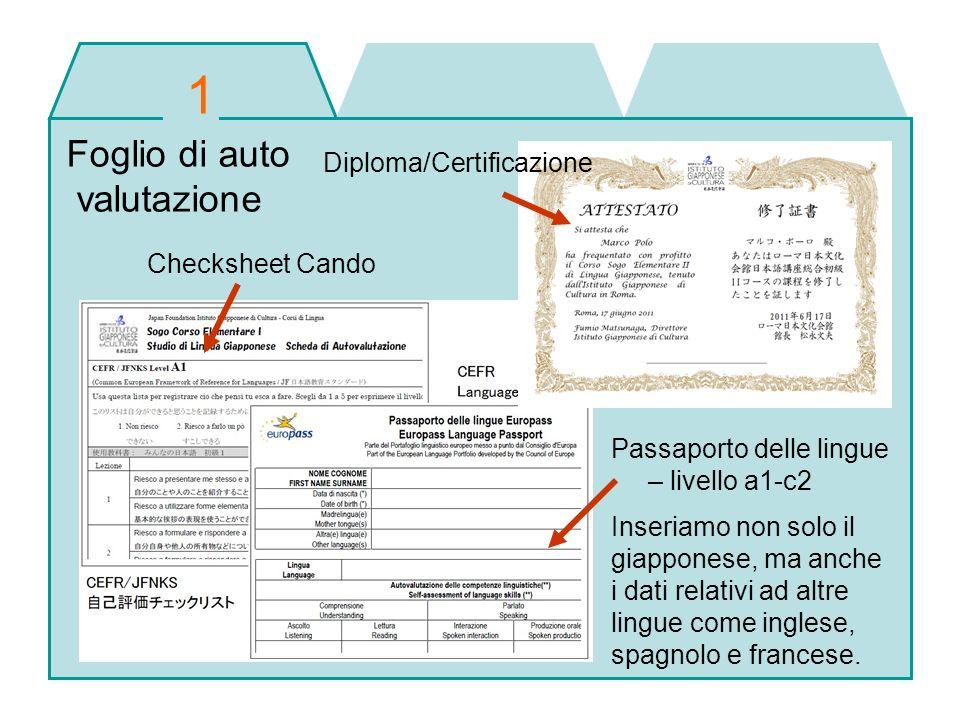 Foglio di auto valutazione Checksheet Cando Diploma/Certificazione Passaporto delle lingue – livello a1-c2 Inseriamo non solo il giapponese, ma anche