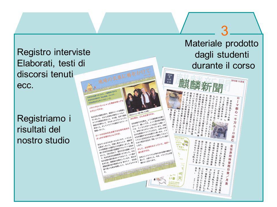 Materiale prodotto dagli studenti durante il corso Registro interviste Elaborati, testi di discorsi tenuti ecc. Registriamo i risultati del nostro stu
