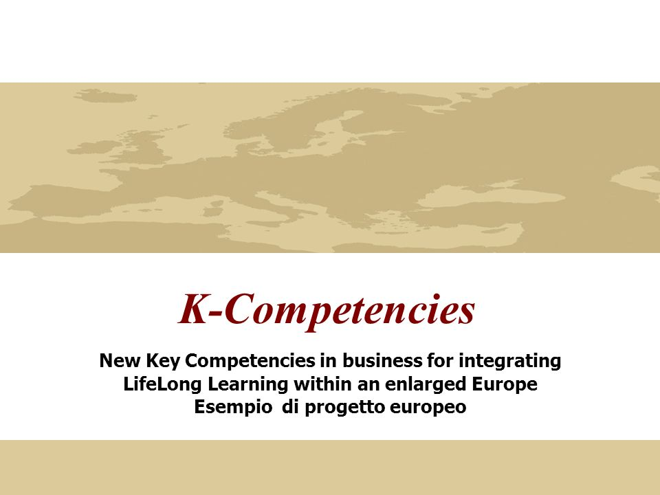 K-Competencies New Key Competencies in business for integrating LifeLong Learning within an enlarged Europe Esempio di progetto europeo