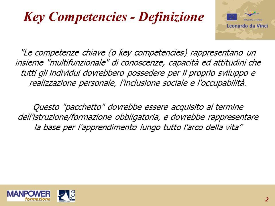 2 Key Competencies - Definizione Le competenze chiave (o key competencies) rappresentano un insieme multifunzionale di conoscenze, capacità ed attitudini che tutti gli individui dovrebbero possedere per il proprio sviluppo e realizzazione personale, l inclusione sociale e l occupabilità.