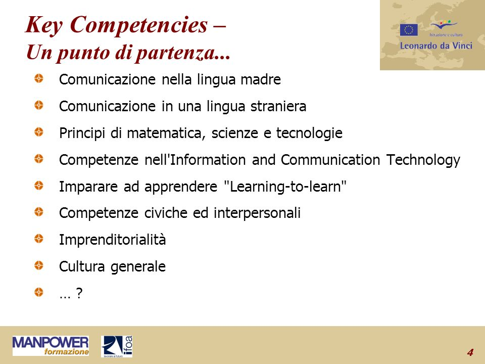 4 Key Competencies – Un punto di partenza...