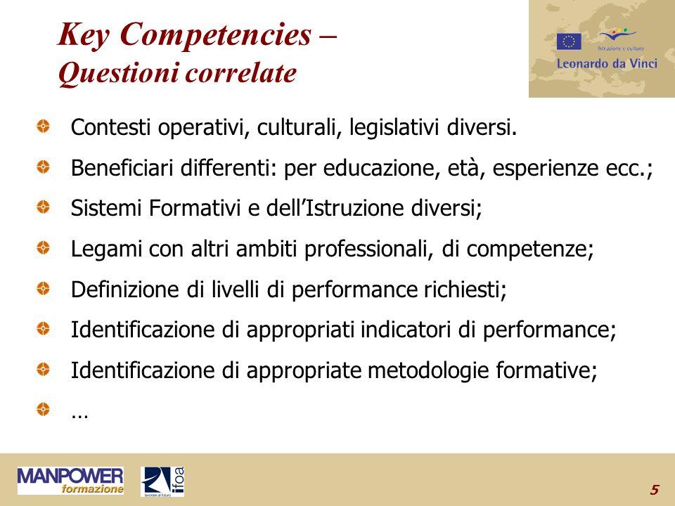 5 Key Competencies – Questioni correlate Contesti operativi, culturali, legislativi diversi.