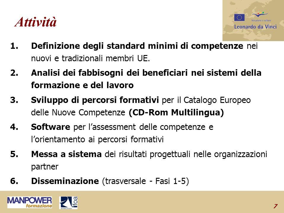7 Attività 1.Definizione degli standard minimi di competenze nei nuovi e tradizionali membri UE.
