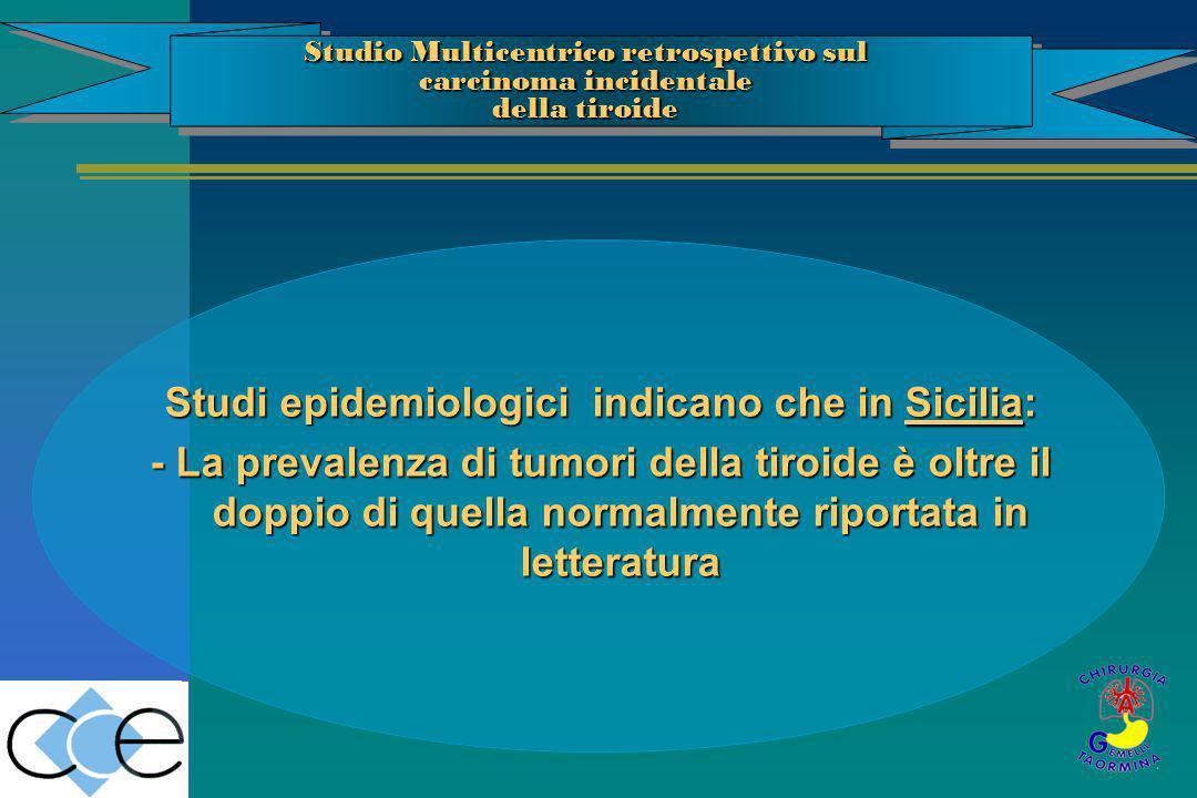 Studi epidemiologici indicano che in Sicilia: - La prevalenza di tumori della tiroide è oltre il doppio di quella normalmente riportata in letteratura