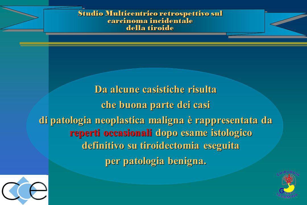 Da alcune casistiche risulta che buona parte dei casi di patologia neoplastica maligna è rappresentata da reperti occasionali dopo esame istologico de