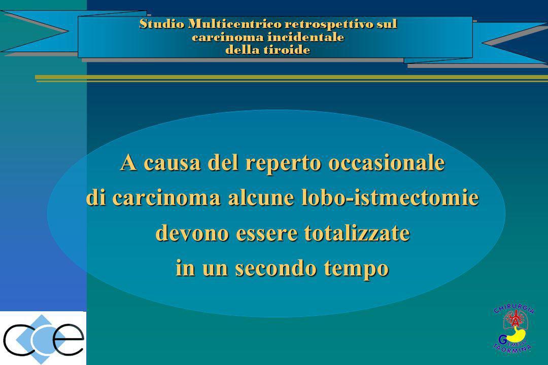 A causa del reperto occasionale di carcinoma alcune lobo-istmectomie devono essere totalizzate in un secondo tempo Studio Multicentrico retrospettivo
