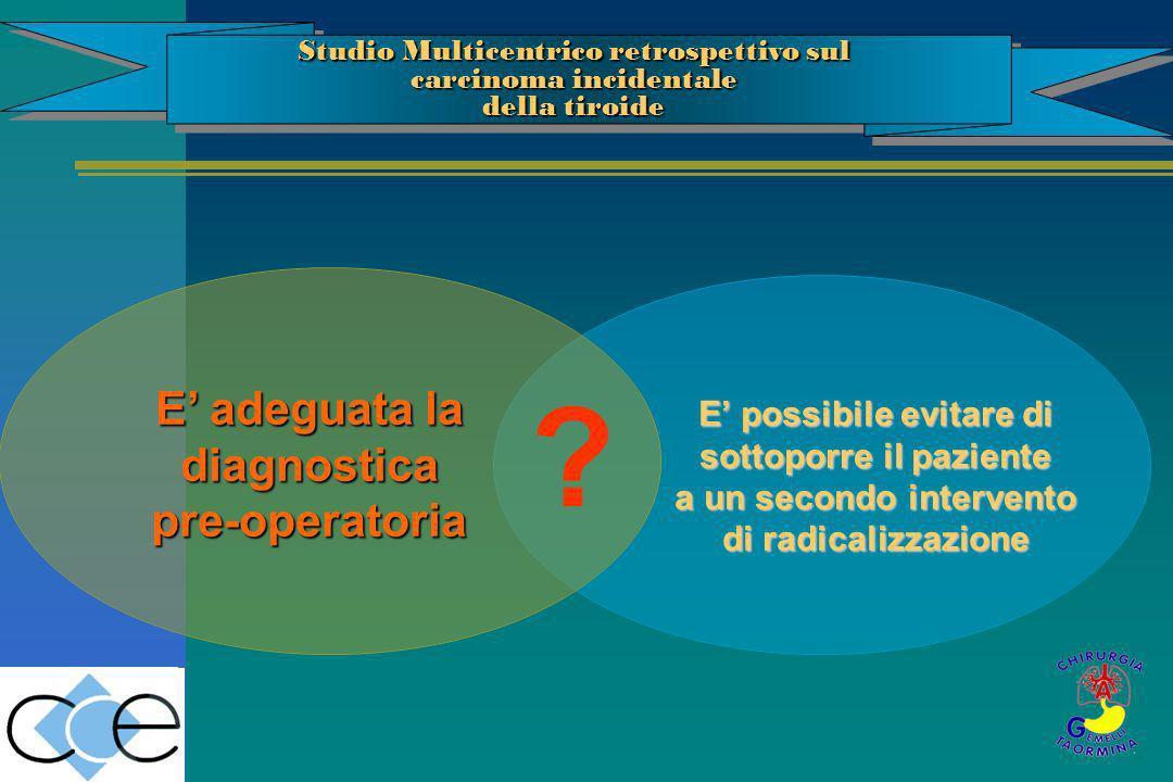 E possibile evitare di sottoporre il paziente a un secondo intervento di radicalizzazione ? E adeguata la diagnostica pre-operatoria Studio Multicentr