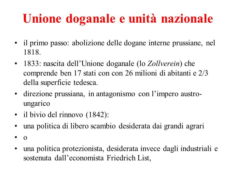 il primo passo: abolizione delle dogane interne prussiane, nel 1818. 1833: nascita dellUnione doganale (lo Zollverein) che comprende ben 17 stati con