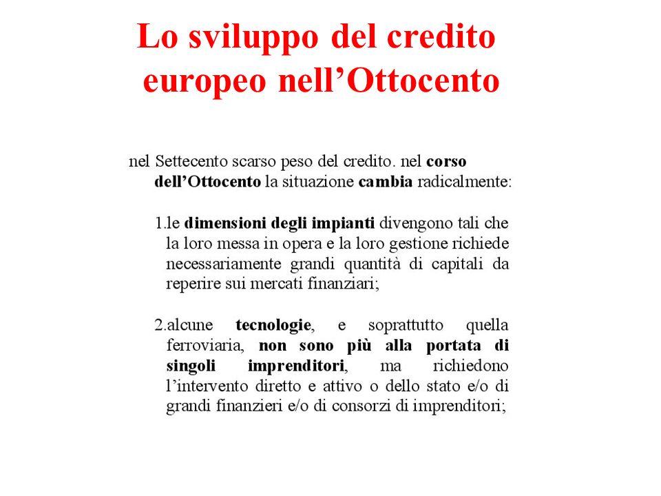 Lo sviluppo del credito europeo nellOttocento
