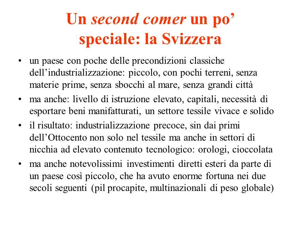Un second comer un po speciale: la Svizzera un paese con poche delle precondizioni classiche dellindustrializzazione: piccolo, con pochi terreni, senz
