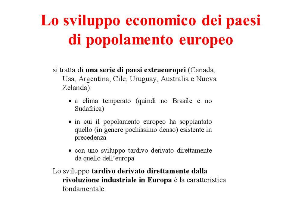 Lo sviluppo economico dei paesi di popolamento europeo