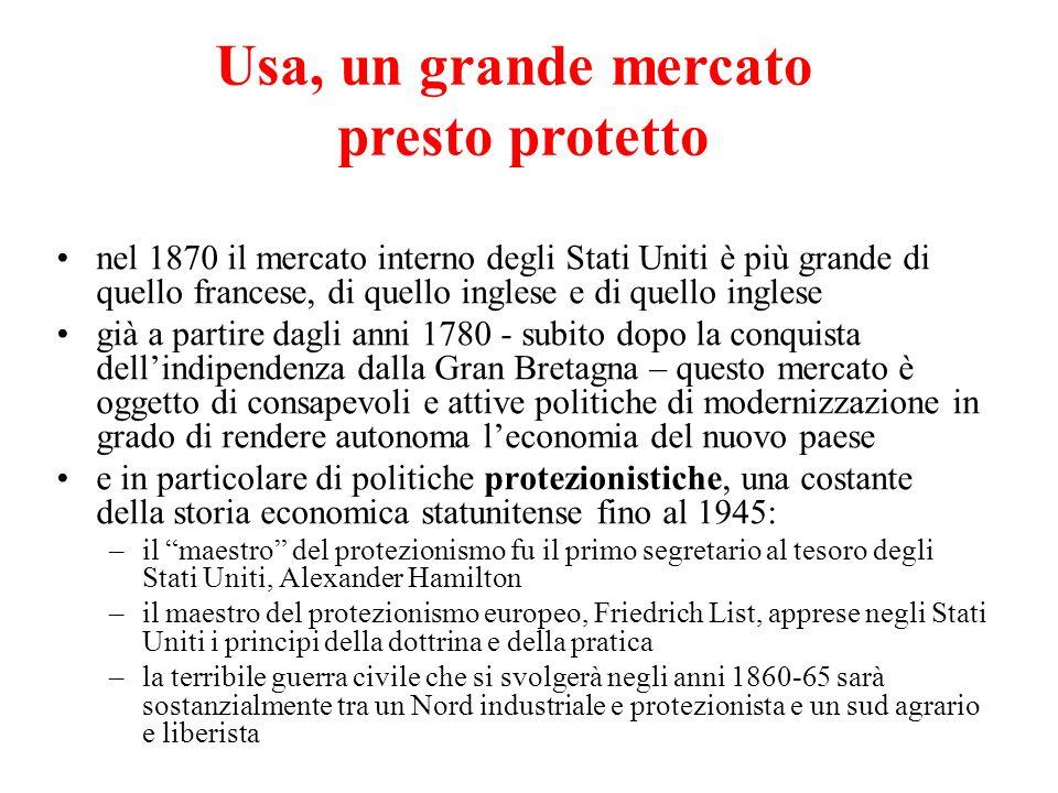nel 1870 il mercato interno degli Stati Uniti è più grande di quello francese, di quello inglese e di quello inglese già a partire dagli anni 1780 - s