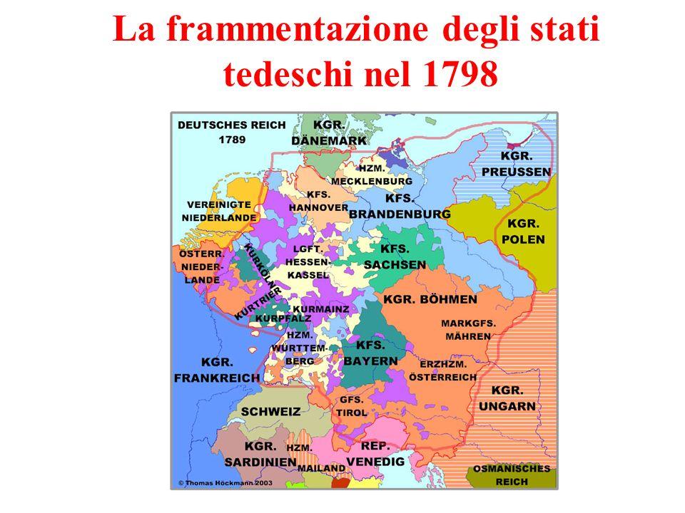 La frammentazione degli stati tedeschi nel 1798