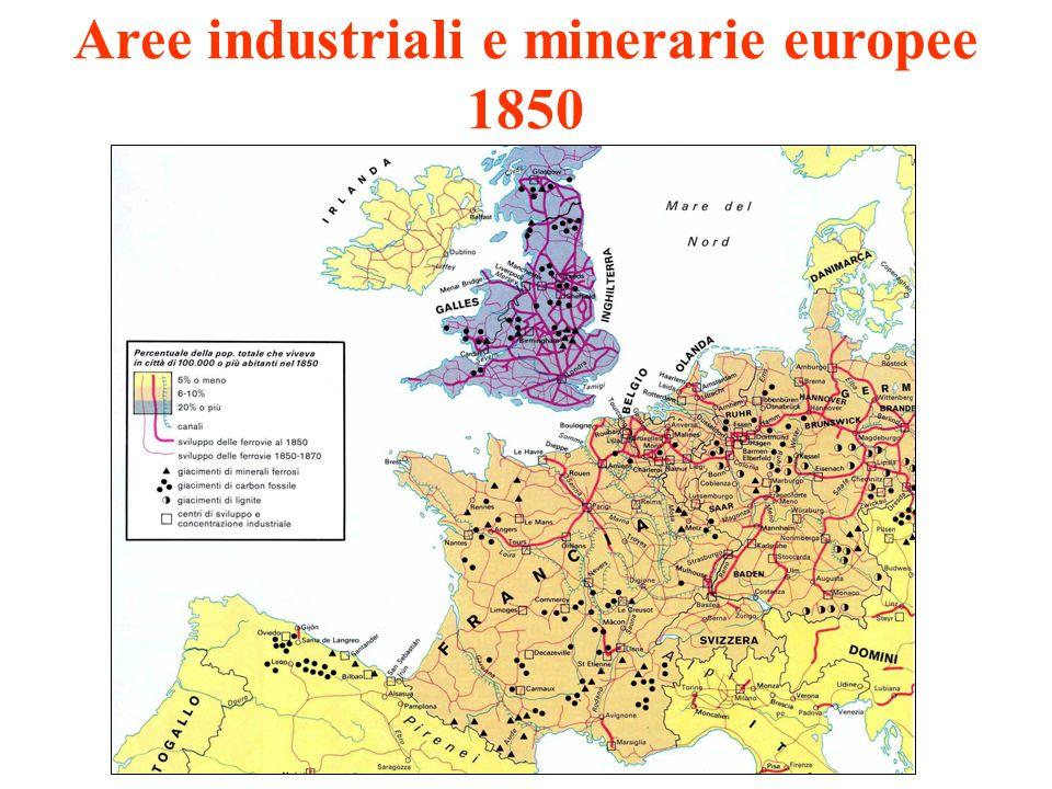 Aree industriali e minerarie europee 1850