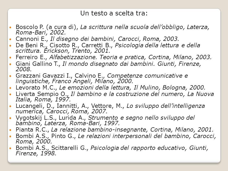 Un testo a scelta tra: Boscolo P. (a cura di), La scrittura nella scuola dellobbligo, Laterza, Roma-Bari, 2002. Cannoni E., Il disegno dei bambini, Ca