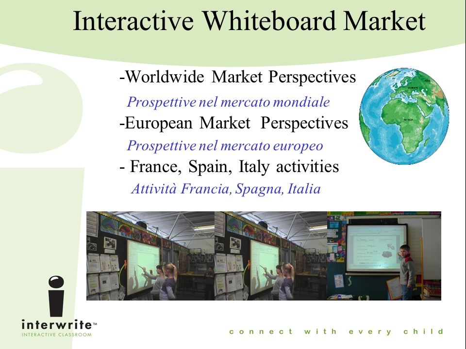 European Market Perspectives Key for success Compatibility with the 3 systems (Windows,Mac,Linux) Strong relation with local education authorities.