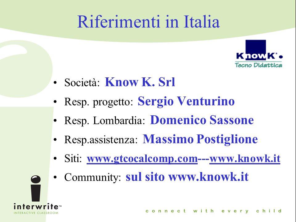 Riferimenti in Italia Società: Know K. Srl Resp. progetto: Sergio Venturino Resp.