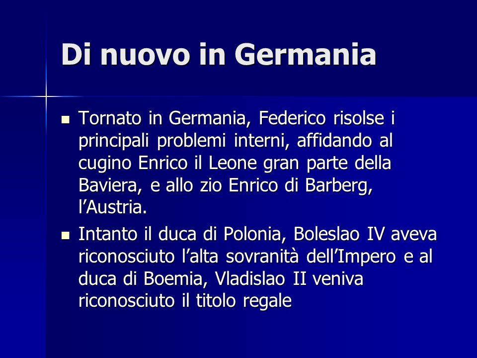 La dieta di Roncaglia 1158 Federico, tornato in Italia con un imponente esercito, convocò una dieta a Roncalgia (presso Piacenza), imponendo alle città una serie di misure fiscali (le regalie) e la presenza di un rector, in rappresentanza dellimperatore 1158 Federico, tornato in Italia con un imponente esercito, convocò una dieta a Roncalgia (presso Piacenza), imponendo alle città una serie di misure fiscali (le regalie) e la presenza di un rector, in rappresentanza dellimperatore 1159 alla morte del papa Adriano IV, viene eletto Rolando Bandinelli di Siena, che prende nome Alessandro III, ma una minoranza, con lappoggio dei legati imperiali, scelse Ottaviano Monticelli, che prese nome Vittore IV 1159 alla morte del papa Adriano IV, viene eletto Rolando Bandinelli di Siena, che prende nome Alessandro III, ma una minoranza, con lappoggio dei legati imperiali, scelse Ottaviano Monticelli, che prese nome Vittore IV Alessandro dovette fuggire in Francia, accolto da Luigi VI Alessandro dovette fuggire in Francia, accolto da Luigi VI