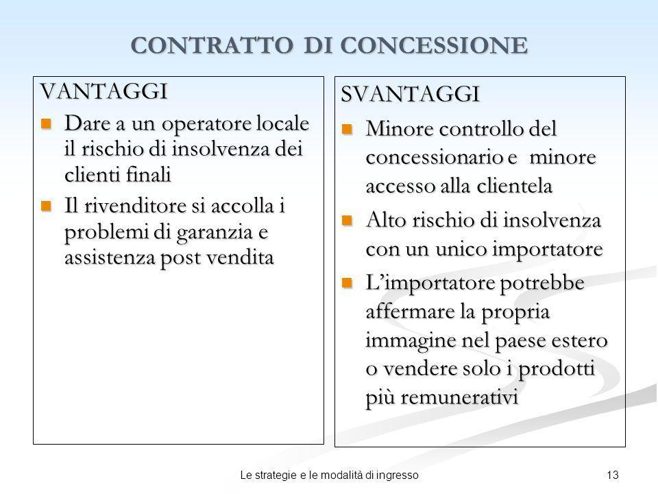 13Le strategie e le modalità di ingresso CONTRATTO DI CONCESSIONE VANTAGGI Dare a un operatore locale il rischio di insolvenza dei clienti finali Dare